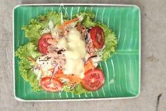 Vegetable salad mixed put tuna Stock Photo