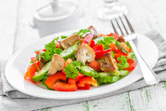 Vegetable salad with mushrooms Stock Images
