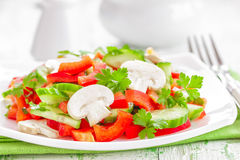 Vegetable salad with mushrooms Royalty Free Stock Photo
