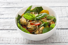 Vegetable salad with mussels Stock Images