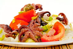 Vegetable salad with octopuses Stock Images