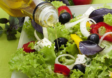 Vegetable salad with  oil Stock Photo