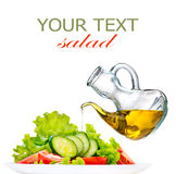 Vegetable Salad with Olive Oil isolated on white Royalty Free Stock Photos