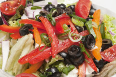 Vegetable salad with olives. Close-up of fresh vegetable salad with olives Royalty Free Stock Photos
