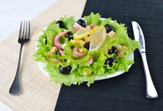 Vegetable salad with olives, cheese, shrimps and fresh lemon Stock Photography