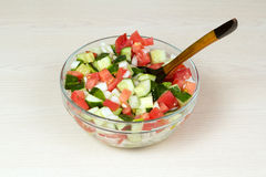 Vegetable salad with onion, tomato and cucumber Royalty Free Stock Images