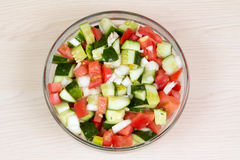 Vegetable salad with onion, tomato and cucumber Royalty Free Stock Photography