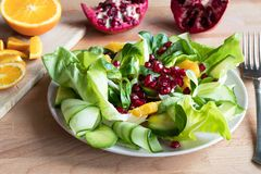 Vegetable salad with orange slices and pomegranate seeds. Vegetable salad with lettuce, corn salad, cucumber, avocado, orange, and pomegranate seeds royalty free stock photography