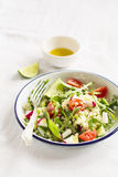 Vegetable salad with pasta in a vintage plate Royalty Free Stock Photography