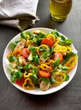 Vegetable salad with pieces of chicken meat. On dark stone background Royalty Free Stock Images