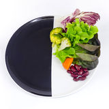 Vegetable salad on plate with blank spcae for wording Stock Photography