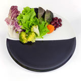 Vegetable salad on plate with blank spcae for wording Royalty Free Stock Photography
