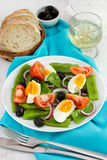 Vegetable salad on the plate, bread Stock Photography