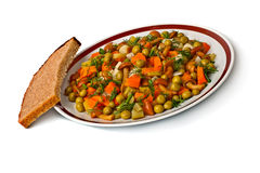 Vegetable salad in a plate and bread slice. Royalty Free Stock Image