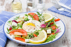 Vegetable salad with poached egg Stock Images