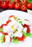 Vegetable salad with poached egg Royalty Free Stock Photography