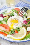 Vegetable salad with poached egg on a plate, vertical Royalty Free Stock Images