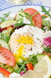Vegetable salad with poached egg on a plate, vertical, closeup Stock Photography