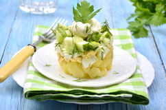 Vegetable salad with potatoes,eggs and cucumber. Stock Photography