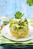 Vegetable salad with potatoes,eggs and cucumber. Royalty Free Stock Photos