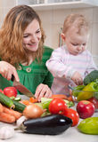 Vegetable salad preparation Royalty Free Stock Photos