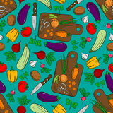 Vegetable salad preparation seamless pattern. Vegetable salad preparation or production seamless pattern with potato and pepper, radish and tomato, carrot and Stock Images