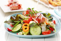 Vegetable salad with Prosciutto cheese rolls Royalty Free Stock Photo