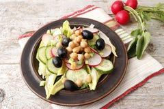 Vegetable salad with radish. Vegetarian salad of cucumbers, radish and chickpeas Stock Photos
