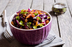 Vegetable salad with raisins Stock Images