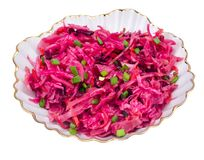 Vegetable salad with raw beets, carrots and cabbage. Studio Photo Royalty Free Stock Photography