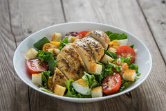 Vegetable salad with roasted chicken meat Stock Photo