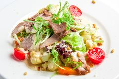 Vegetable salad with roasted turkey Royalty Free Stock Image