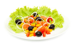 Vegetable salad with salmon Stock Photos