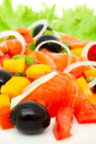 Vegetable salad with salmon Royalty Free Stock Photo