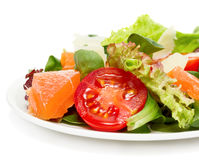 Vegetable salad with salmon and parmesan cheese Stock Images