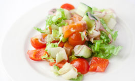 Vegetable salad with salmon Stock Images