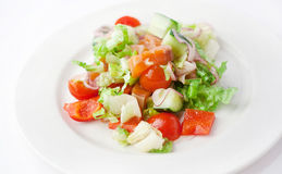 Vegetable salad with salmon Stock Image
