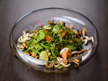 Vegetable salad with seafood on plate Royalty Free Stock Photos