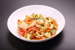 Vegetable salad with seafood Royalty Free Stock Image