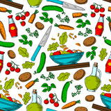 Vegetable salad seamless pattern with ingredients Stock Images