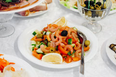 Vegetable salad with shrimp and mussels Royalty Free Stock Photography