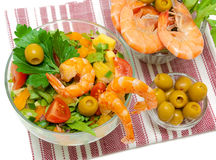 Vegetable salad, shrimp and olives Royalty Free Stock Photo