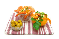 Vegetable salad, shrimp and olives on a white background Royalty Free Stock Image