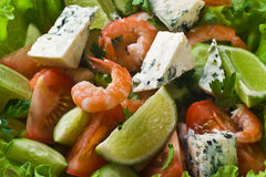 Vegetable salad with shrimps Stock Photos