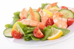 Vegetable salad with shrimps Stock Images