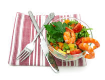 Vegetable salad with shrimps  on white background Royalty Free Stock Image