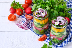 Vegetable salad with spinach and red onions in a glass jar on a royalty free stock images