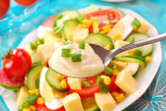 Vegetable salad and spoon of mayonnaise stock images
