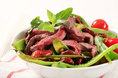 Vegetable salad with strips of beef Royalty Free Stock Photo