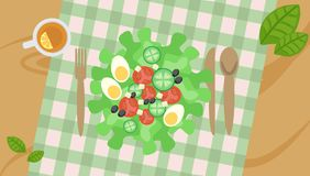 Vegetable salad on the table with tablecloth and Cutlery. Vegetable salad on a wooden table with a tablecloth in a cage and Cutlery for lunch vector illustration